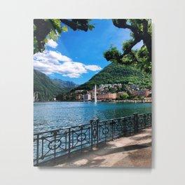 Lake Lugano lakeside path with alpine and fountain view Switzerland photograph Metal Print