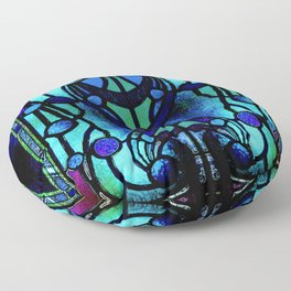 Blue and Aqua Stained Glass Victorian Design Floor Pillow