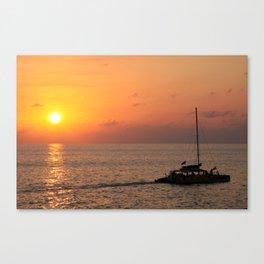 Spectacular sunset at Rick's Cafe, Negril, Jamaica Canvas Print