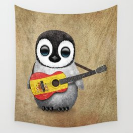 Baby Penguin Playing Spanish Flag Guitar Wall Tapestry