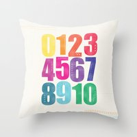 numbers Throw Pillows featuring Numbers by Laura Flowerday (PaperCrane)