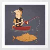 fishing Art Prints featuring Fishing by Matt Sinor