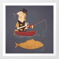 fishing Art Prints featuring Fishing by Matt Sinor