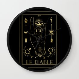 Le Diable or The Devil Tarot Gold Wall Clock