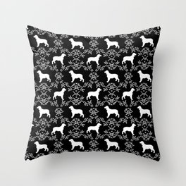 English Springer Spaniel dog breed black and white floral pet portraits dog silhouette dog pattern Throw Pillow