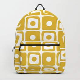 Mid Century Square Dot Pattern Mustard Yellow Backpack