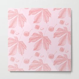 Horse Chestnut leaf and conker pale pink pattern Metal Print