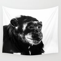 darwin Wall Tapestries featuring Chimpanzee by Claire Doherty