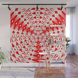 Star White And Red Geometric Shape Kaleidoscope Wall Mural