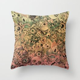 Monster World Washed Throw Pillow