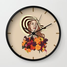A flower between flowers // Del Rey with a bouquet Wall Clock