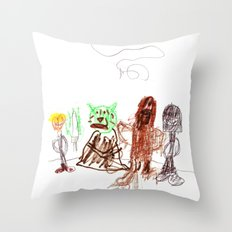 Space Opera in Crayon Throw Pillow