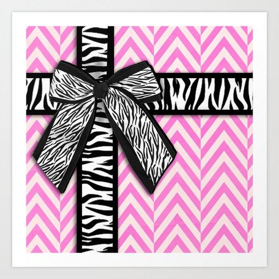 Girly zebra ribbon & bow, pink chevron stripes Art Print