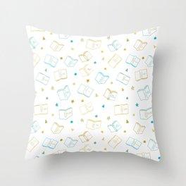 Classic Book Doodles Blue & Yellow Throw Pillow