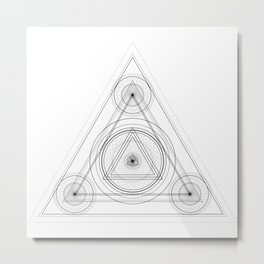 Occult triangle design with alchemy elements Metal Print