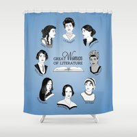 literature Shower Curtains featuring Great Women of Literature by geeksweetie