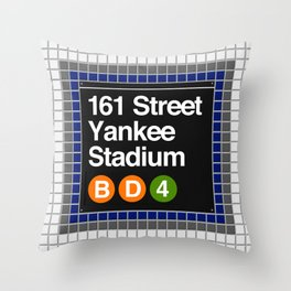 subway yankee stadium sign Throw Pillow