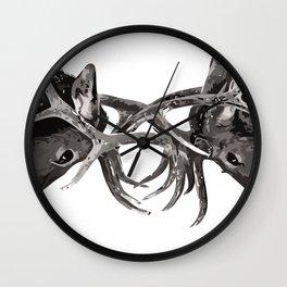 FIGHTING DEER Wall Clock