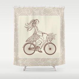 Bike Girl Shower Curtain