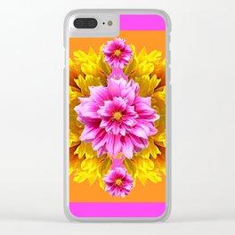 FUCHSIA PINK DAHLIAS & YELLOW SUNFLOWERS GARDEN ART Clear iPhone Case