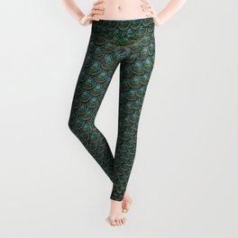 Teal Mermaid Scales Leggings