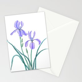 vintage purple iris watercolor Stationery Cards