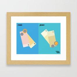 Reais x Pesos Framed Art Print