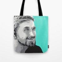 ryan gosling Tote Bags featuring Ryan Gosling by megan matthews