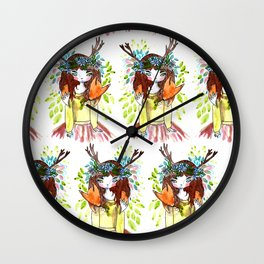 Girl and fox Wall Clock