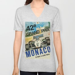 Gran Prix de Monaco, 1984, vintage poster Unisex V-Neck