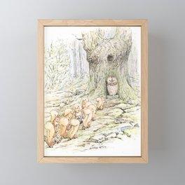 Squirrels and an owl Framed Mini Art Print