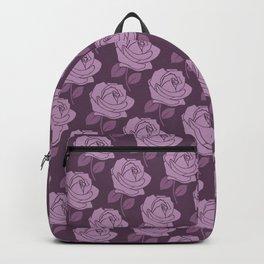 Big Pink Rose Pattern on Plum Backpack