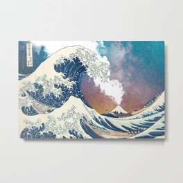 Great Wave Off Kanagawa Surrealism-Mount Fuji Eruption and Starry Sky Metal Print