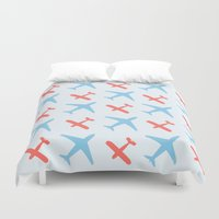airplanes Duvet Covers featuring Airplanes by Daily Design