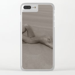 1212 Sandy Dune Nude - SurXposed - Nude Girl Lying on a Bed of Sand in Glamis California Clear iPhone Case