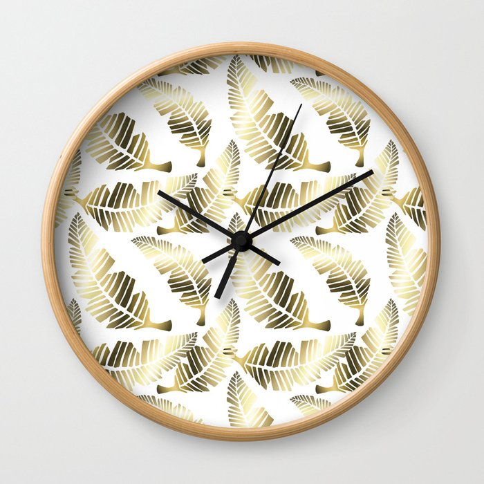 Tropical brown gold abstract leaves floral pattern Wall Clock