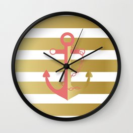 AFE Nautical Pink and Gold Anchor Wall Clock