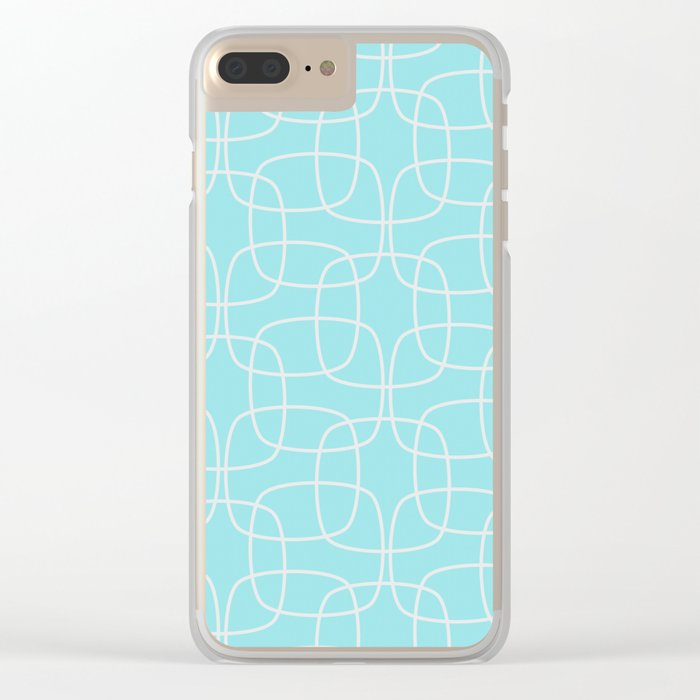Square Pattern Mint Clear iPhone Case