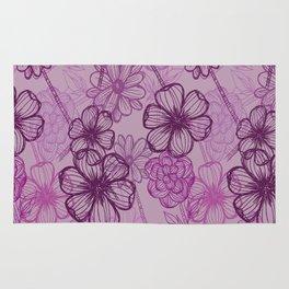 Purple doodle flowers Rug
