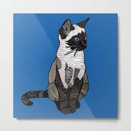 Siamese Cat Zentangle in Blue Metal Print