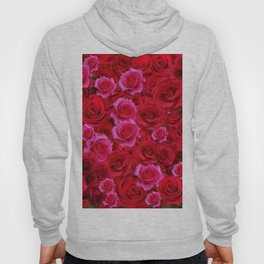 NATURE ART OF BED OF RED & PINK ROSE FLOWERS Hoody