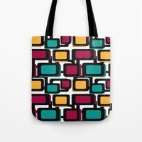 Tote Bags featuring Seamless pattern with geometric elements by Fuzzyfox