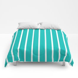 Vertical Lines (White/Tiffany Blue) Comforters