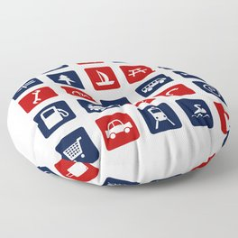 Travel Icons in RWB Floor Pillow