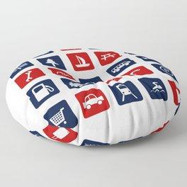 Travel Icons in RWB Floor Pillow