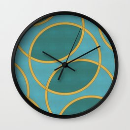 Gold and Blue Repeating Rings Wall Clock