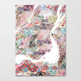 Montreal map canada Canvas Print