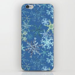 icy snowflakes on blue iPhone Skin