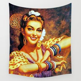 Jesus Helguera Painting of a Mexican Calendar Girl with Bangles Wall Tapestry
