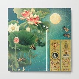 Lotus Full Moon Garden :: Fine Art Collage Metal Print